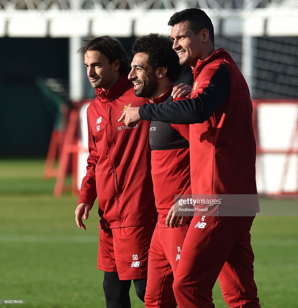 Lazar Markovic, Mohamed Salah and Dejan Lovren of Liverpool during a training session at Melwood Training Ground on January 10, 2018 in Liverpool, England.
