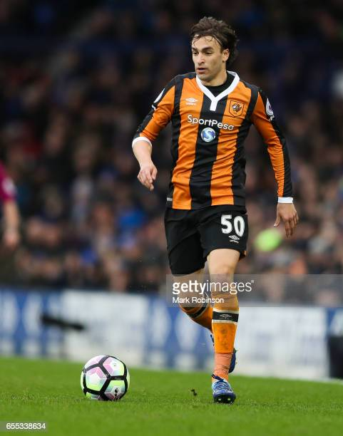 Lazar Markovic of Everton during the Premier League match between Everton and Hull City at Goodison Park on March 18 2017 in Liverpool England