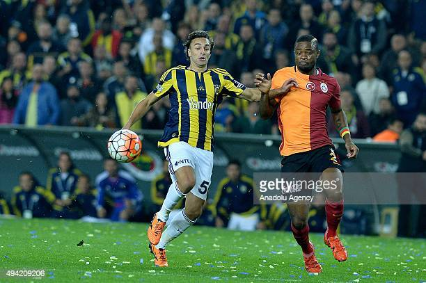 Lazar Markovic of Fenerbahce in action against Aurelion Chedju of Galatasaray during the Turkish Spor Toto Super League football match between...