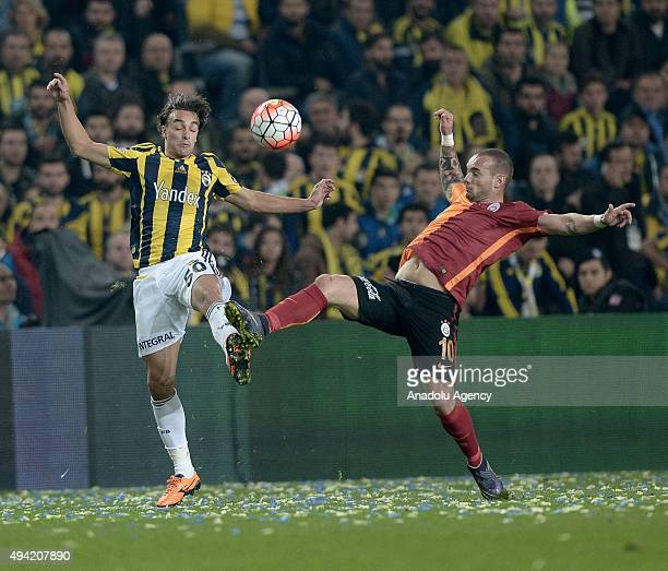 Lazar Markovic of Fenerbahce in action against Wesley Sneijder of Galatasaray during the Turkish Spor Toto Super League football match between...
