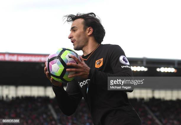Lazar Markovic of Hull City holds the ball during the Premier League match between Stoke City and Hull City at Bet365 Stadium on April 15 2017 in...
