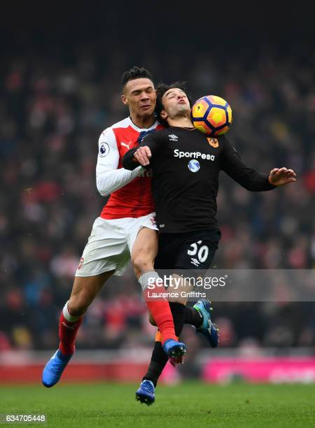 Lazar Markovic of Hull City is fouled by Kieran Gibbs of Arsenal during the Premier League match between Arsenal and Hull City at Emirates Stadium on...