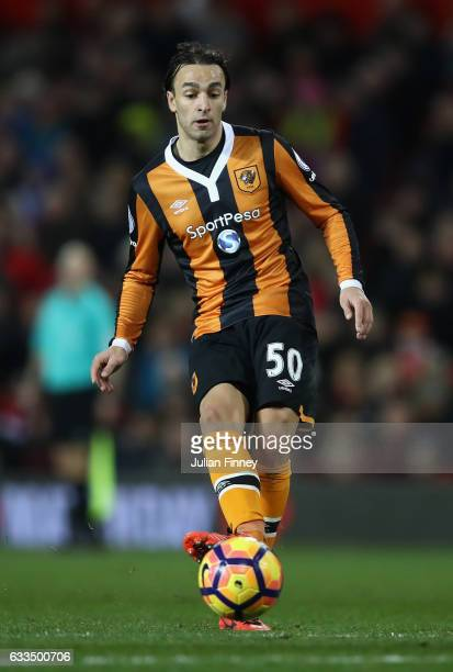 Lazar Markovic of Hull City passes the ball during the Premier League match between Manchester United and Hull City at Old Trafford on February 1...