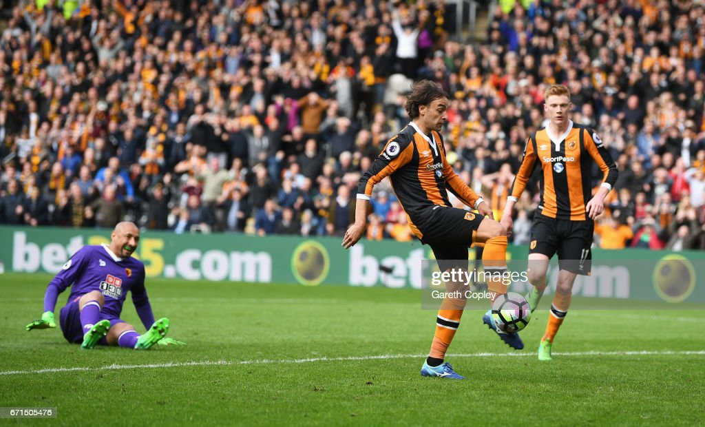 Lazar Markovic of Hull City scores his sides first goal during the Premier League match between Hull City and Watford at the KCOM Stadium on April 22, 2017 in Hull, England.