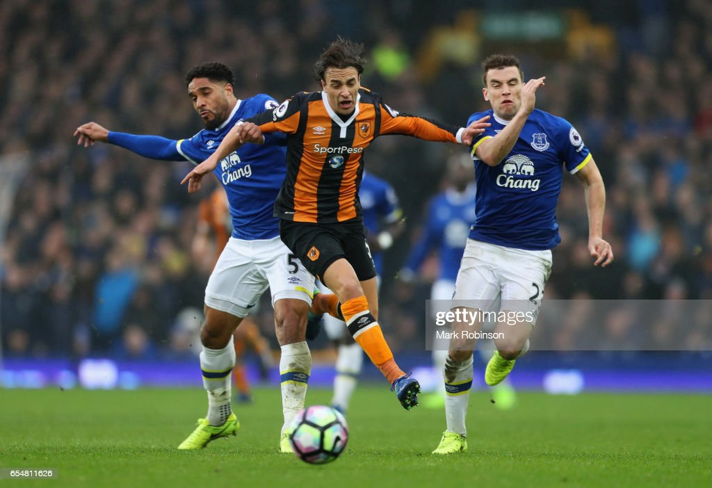 Lazar Markovic of Hull City takes on Ashley Williams and Seamus Coleman of Everton during the Premier League match between Everton and Hull City at Goodison Park on March 18, 2017 in Liverpool, England.