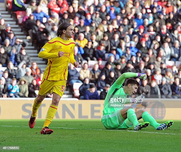 Lazar Markovic of Liverpool celebrates after scoring the opening goal during the Barclays Premier Leauge match between Sunderland and Liverpool at...