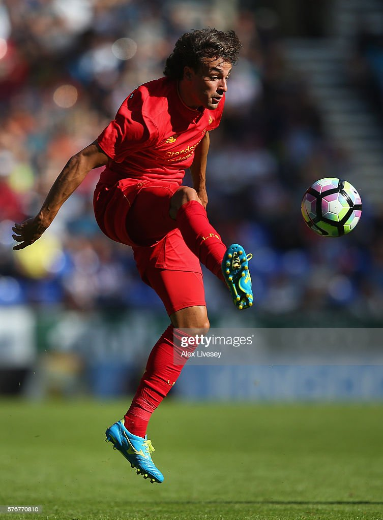 Lazar Markovic of Liverpool controls the ball during a pre-season friendly between Wigan Athletic and Liverpool at JJB Stadium on July 17, 2016 in Wigan, England.