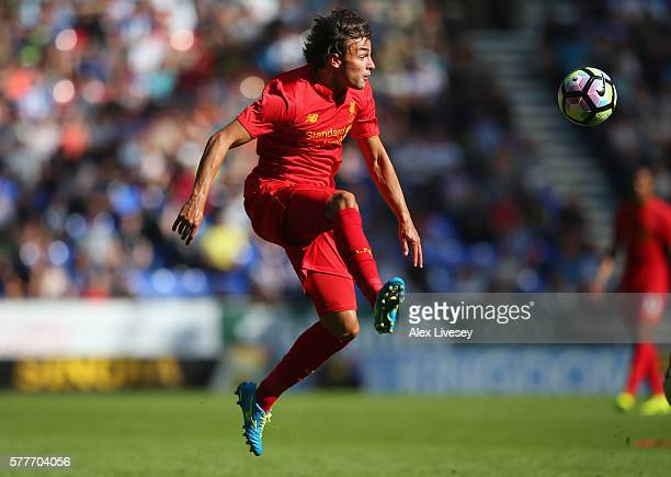 Lazar Markovic of Liverpool controls the ball during a preseason friendly between Wigan Athletic and Liverpool at JJB Stadium on July 17 2016 in...