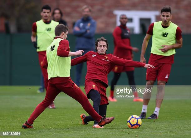 Lazar Markovic of Liverpool during a training session at Melwood Training Ground on November 2 2017 in Liverpool England