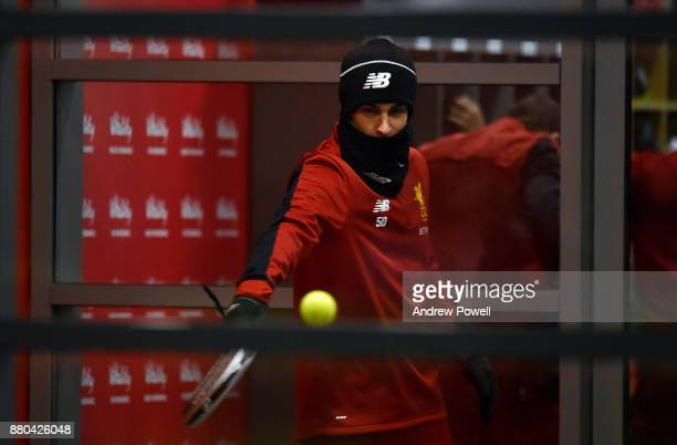 Lazar Markovic of Liverpool during a training session at Melwood Training Ground on November 27 2017 in Liverpool England