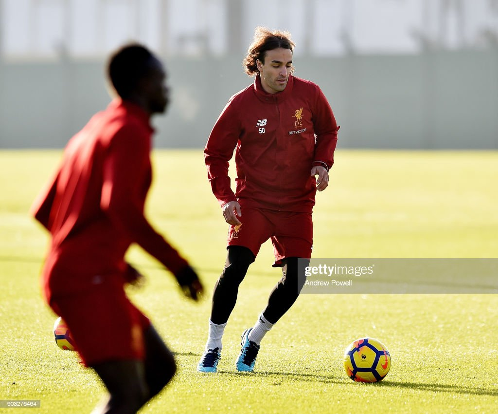 Lazar Markovic of Liverpool during a training session at Melwood Training Ground on January 10, 2018 in Liverpool, England.