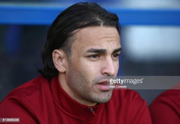 Lazar Markovic of Liverpool looks on from the bench during a preseason friendly match between Tranmere Rovers and Liverpool at Prenton Park on July...