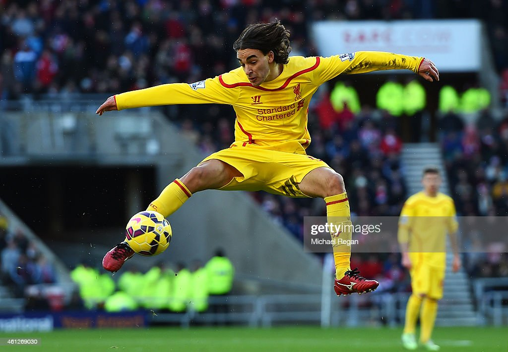 Lazar Markovic of Liverpool strikes a volley onto the crossbar during the Barclays Premier League match between Sunderland and Liverpool at Stadium of Light on January 10, 2015 in Sunderland, England.