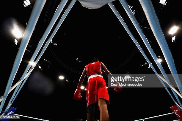Lazaro Alvarez of Cuba stands in the corner as he competes against Robson Conceicao of Brazil in the Lightweight 60kg Men boxing bout on Day 9 of the...