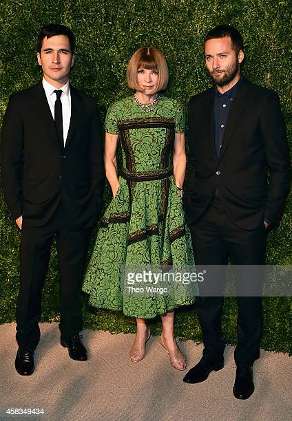 Lazaro Hernandez Anna Wintour and Jack McCollough attend the 11th annual CFDA/Vogue Fashion Fund Awards at Spring Studios on November 3 2014 in New...