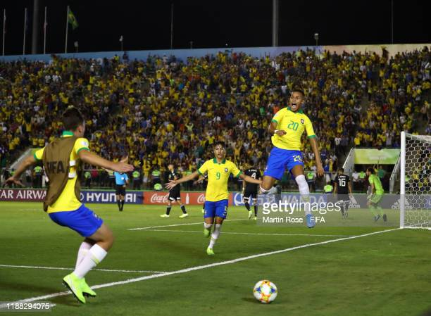 Lazaro of Brazil celebrates after scoring his sides second goal during the Final of the FIFA U-17 World Cup Brazil 2019 between Mexico and Brazil at...