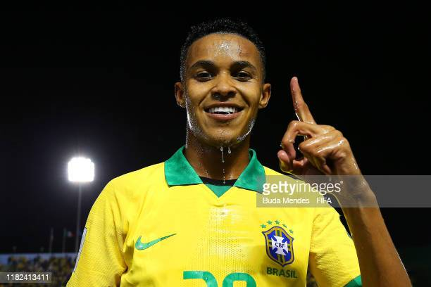 Lazaro of Brazil celebrates at the end of the FIFA U17 World Cup Brazil 2019 semifinal match between France and Brazil at Estadio Bezerrao on...