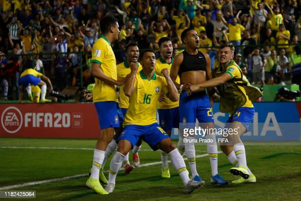 Lazaro of Brazil celebrates with a teammates after scoring a gol during the FIFA U-17 Men's World Cup Brazil 2019 semi-finals match France and Brazil...