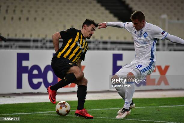 OACA 'SPIROS LOUIS' ATHENS ATTIKI GREECE Lazaros Christodoulopoulos of AEK tries to avoid Artem Besedin of Dynamo Kyiv After an exciting football...