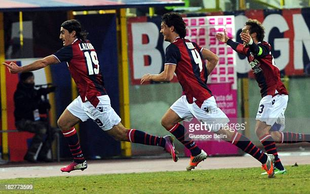 Lazaros Christodoulopoulos of Bologna celebrates after scoring the goal 21 during the Serie A match between Bologna FC and ACF Fiorentina at Stadio...