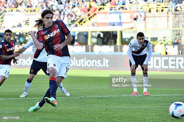 Lazaros of Bologna FC scores the openign goal from the penalty spot during the Serie A match between Bologna FC and Cagliari Calcio at Stadio Renato...