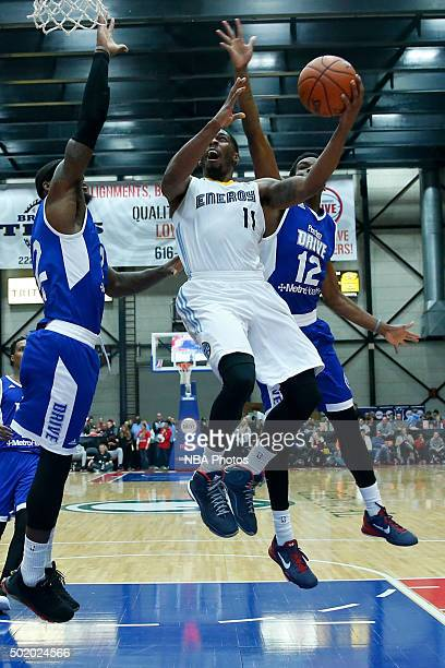Lazeric Jones of the Iowa Energy goes to the basket against Xavier Ford of the Grand Rapids Drive during the second half of an NBA DLeague game on...