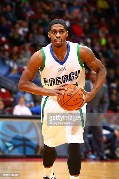 Lazeric Jones of the Iowa Energy passes the ball against the Grand Rapids Drive in an NBA DLeague game on January 15 2016 at the Wells Fargo Arena in...