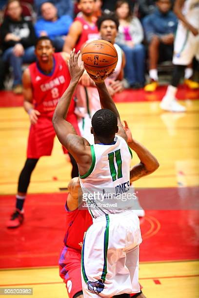 Lazeric Jones of the Iowa Energy shoots the ball against the Grand Rapids Drive in an NBA DLeague game on January 15 2016 at the Wells Fargo Arena in...