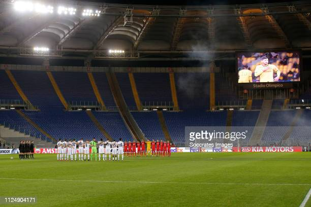 Lazio and Sevilla players holding a one minute of silence for Emiliano Sala during the UEFA Europa League match between Lazio v Sevilla at the Stadio...