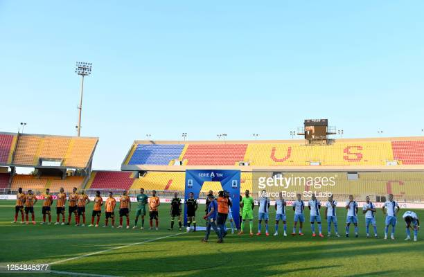 Lazio and Udinese players pay respect to Italian music director Ennio Morricone before the Serie A match between US Lecce and SS Lazio at Stadio Via...
