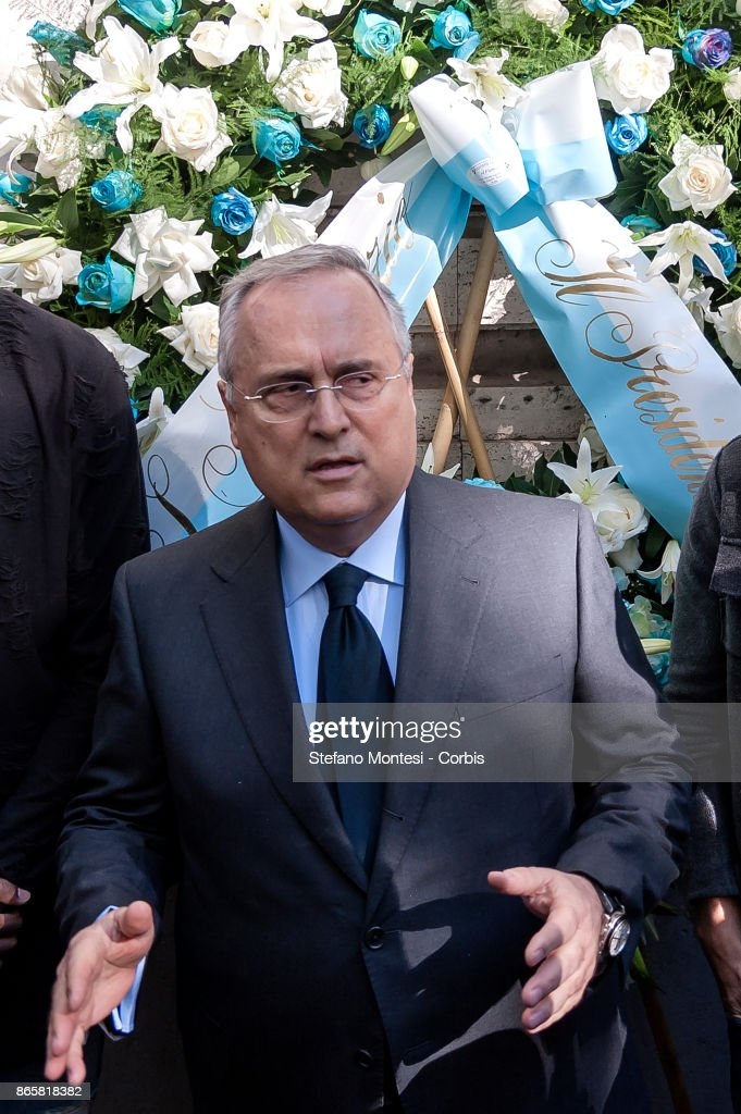 Lazio Chairman Claudio Lotito and a delegation including players Wallace and Felipe Anderson lay flowers at Rome's synagogue after a group of the club's ultras of Lazio used Anti-Semitic stickers with the image of Anne Frank wearing a Roma shirt to insult followers of city rivals AS Roma on October 24, 2017 in Rome, Italy. The stickers and anti-Semitic slurs were found on glass barriers, walls and bathrooms in a section of Rome's Olympic Stadium that was used by Lazio supporters on Sunday in their Serie A match against Cagliari.