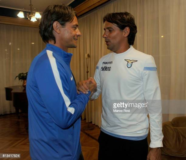 Lazio coach Simone Inzaghi and FC Venezia head coah Filippo Inzaghi they meet after the SS Lazio Training Camp Day 4 on July 12 2017 in Pieve di...