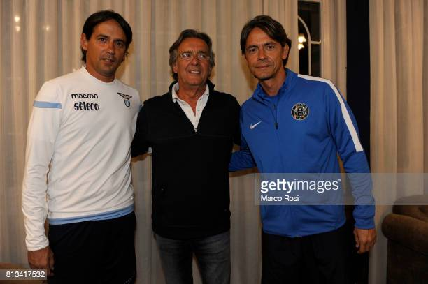 Lazio coach Simone Inzaghi Giampaolo Inzaghi and FC Venezia head coah Filippo Inzaghi they meet after the SS Lazio Training Camp Day 4 on July 12...