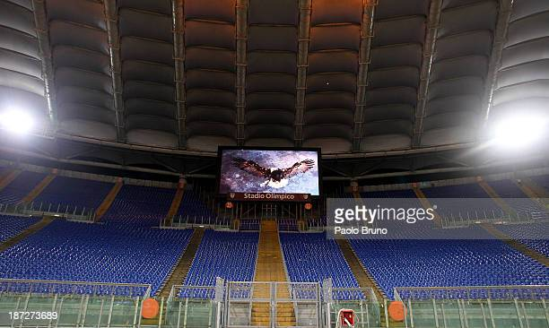 Lazio Curva Nord stand remains empty after being closed by UEFA as punishment for the Lazio fan's racist chanting at a match against Legia Warsaw in...