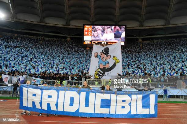 Lazio Fans before the TIM Cup match between AS Roma and SS Lazio at Stadio Olimpico on April 4, 2017 in Rome, Italy.
