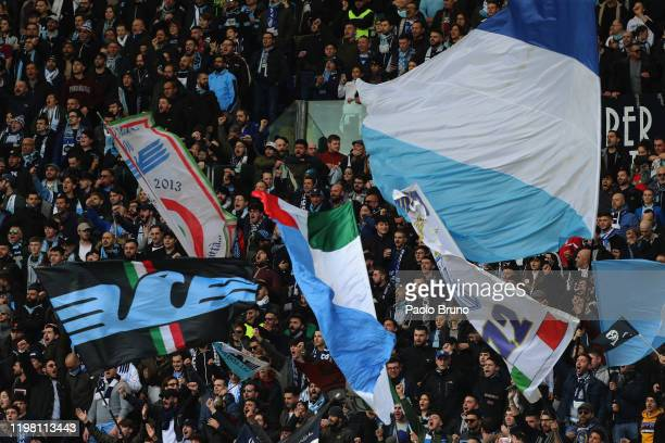 Lazio fans celebrate during the Serie A match between SS Lazio and SPAL at Stadio Olimpico on February 2 2020 in Rome Italy