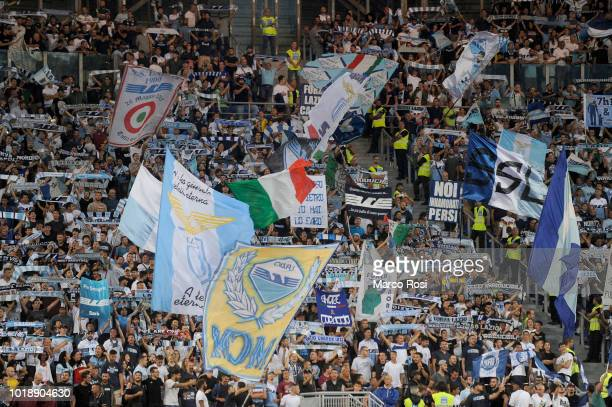 Lazio fans cheer for their team during the serie A match between SS Lazio and SSC Napoli at Stadio Olimpico on August 18 2018 in Rome Italy