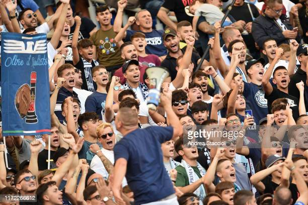 Lazio fans cheer on during the Serie A football match between SS Lazio and Genoa CFC SS Lazio won 40 over Genoa CFC
