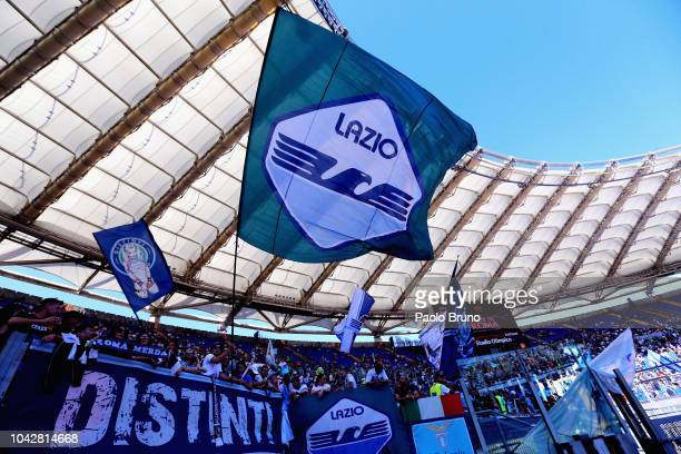 Lazio fans during the Serie A match between AS Roma and SS Lazio at Stadio Olimpico on September 29 2018 in Rome Italy