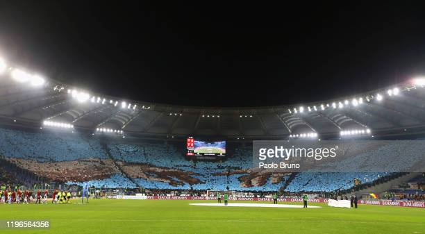 Lazio fans during the Serie A match between AS Roma and SS Lazio at Stadio Olimpico on January 26, 2020 in Rome, Italy.