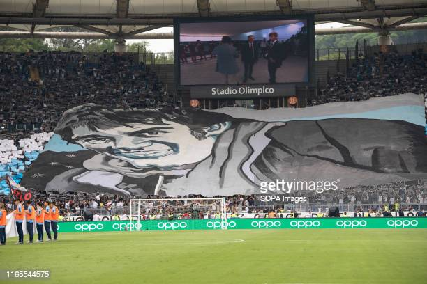 Lazio fans during the Serie A match between Lazio and AS Roma at Olimpico Stadium