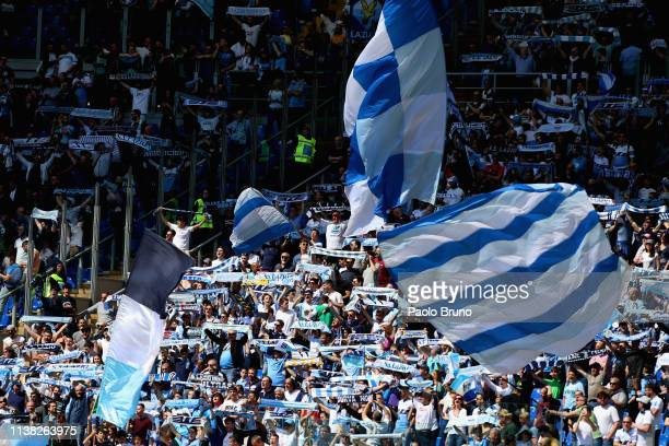 Lazio fans during the Serie A match between SS Lazio and Chievo at Stadio Olimpico on April 20 2019 in Rome Italy