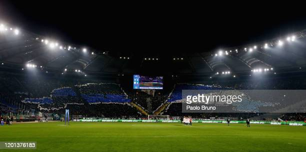 Lazio fans during the Serie A match between SS Lazio and FC Internazionale at Stadio Olimpico on February 16 2020 in Rome Italy