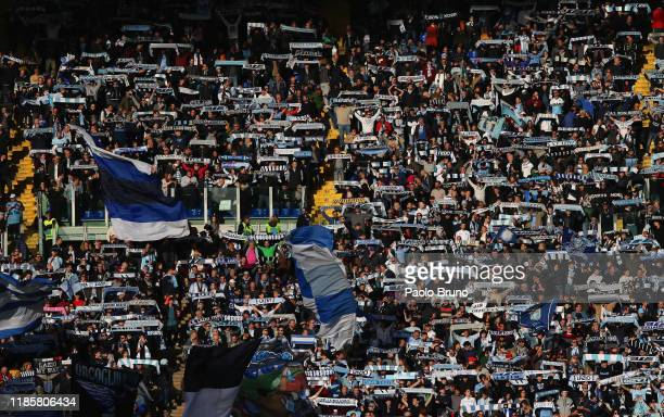 Lazio fans during the Serie A match between SS Lazio and Udinese Calcio at Stadio Olimpico on December 1 2019 in Rome Italy