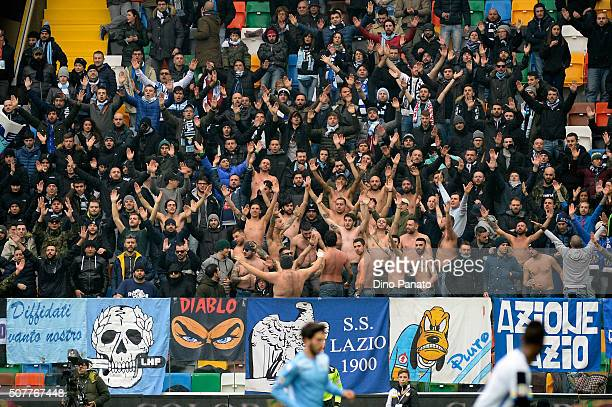 Lazio fans shows their support during the Serie A match between Udinese Calcio and SS Lazio at Dacia Arena on January 31 2016 in Udine Italy