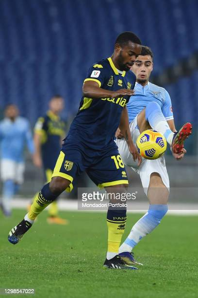 Lazio footballer Andreas Pereira and Parma footballer Wylan Cyprien during the match Lazio-Parma in the olimpic stadium. Rome , January 21st, 2021