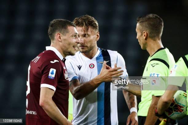 Lazio forward Ciro Immobile and Torino forward Andrea Belotti talks with referee Davide Massa after the Serie A football match n.29 TORINO - LAZIO on...