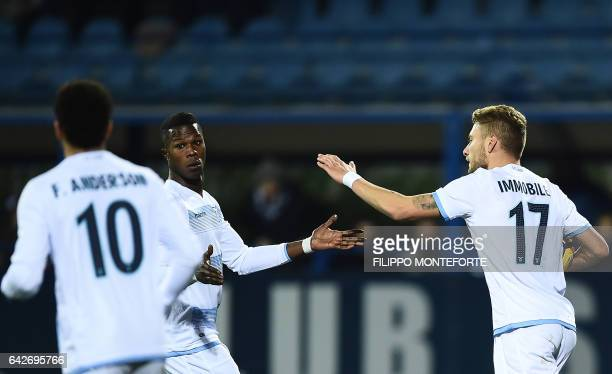 Lazio forward from Italy Ciro Immobile celebrates after scoring with Lazio's forward from Senegal Balde Diao Keita during the italian Serie A...