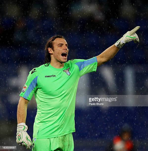S Lazio goalkeeper Federico Marchetti gestures during the Serie A match between SS Lazio and ACF Fiorentina at Stadio Olimpico on March 10 2013 in...