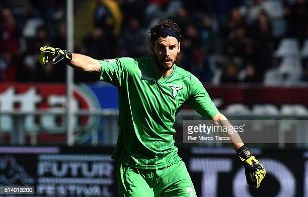 Lazio goalkeeper Federico Marchetti gestures during the Serie A match between Torino FC and SS Lazio at Stadio Olimpico di Torino on March 6 2016 in...